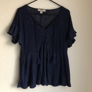 Vintage America Ribbed Blouse with Tassels